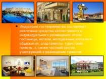 Индустрию гостеприимства составляют различные средства коллективного и индиви...