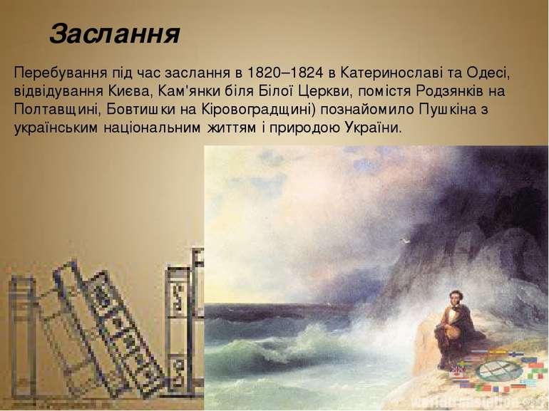 Заслання Перебування під час заслання в 1820–1824 вКатеринославiтаОдесі, в...
