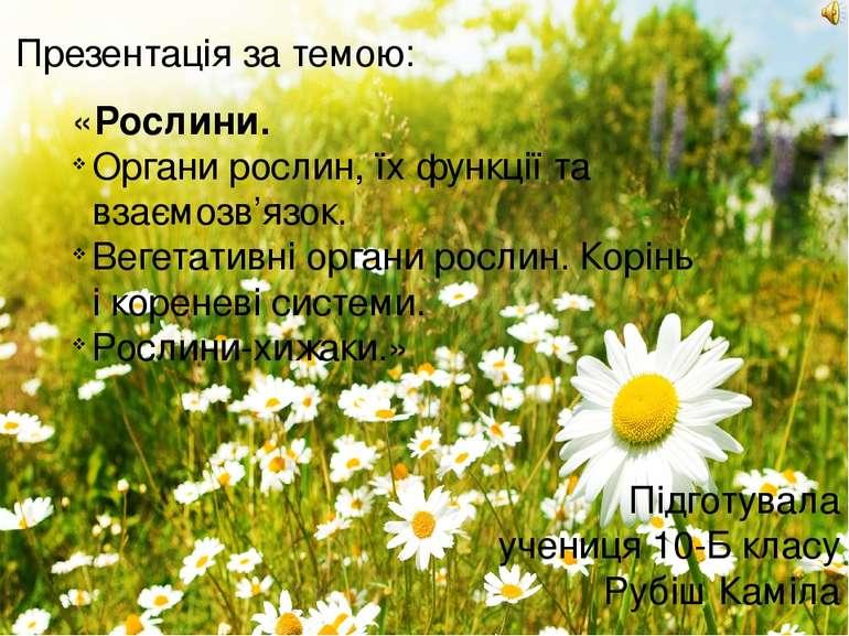 «Рослини. Органи рослин, їх функції та взаємозв'язок. Вегетативні органи росл...