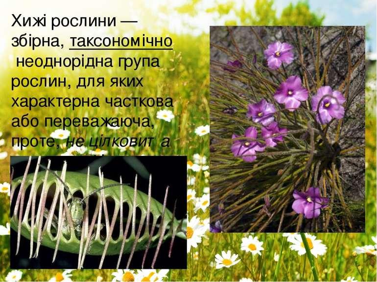 Хижі рослини— збірна,таксономічнонеоднорідна групарослин, для яких характ...