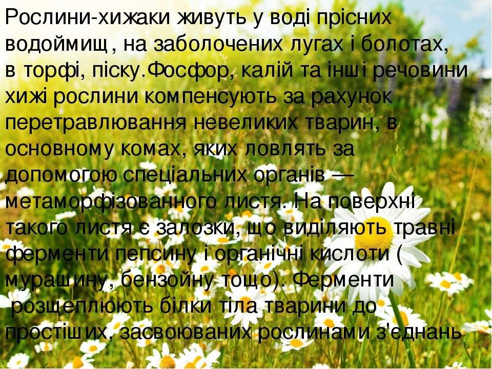 Рослини-хижаки живуть уводі пріснихводоймищ, на заболочених лугах іболотах...