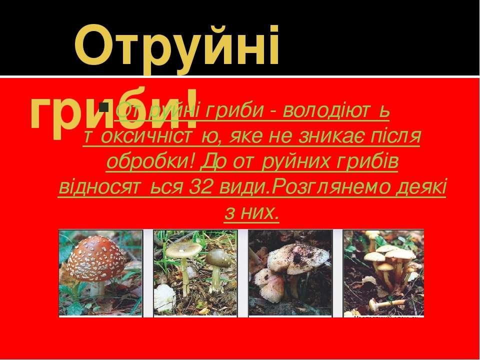 Отруйні гриби! Отруйні гриби - володіють токсичністю, яке не зникає після обр...