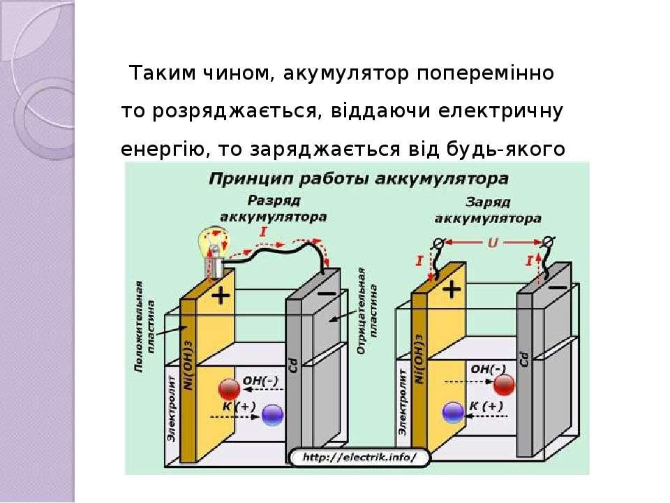 Таким чином, акумулятор поперемінно то розряджається, віддаючи електричну ене...