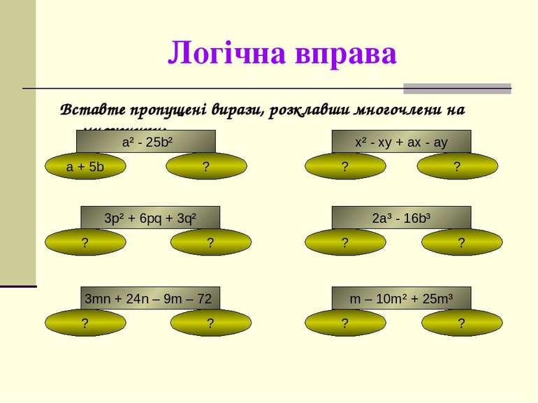 Логічна вправа Вставте пропущені вирази, розклавши многочлени на множники: a²...