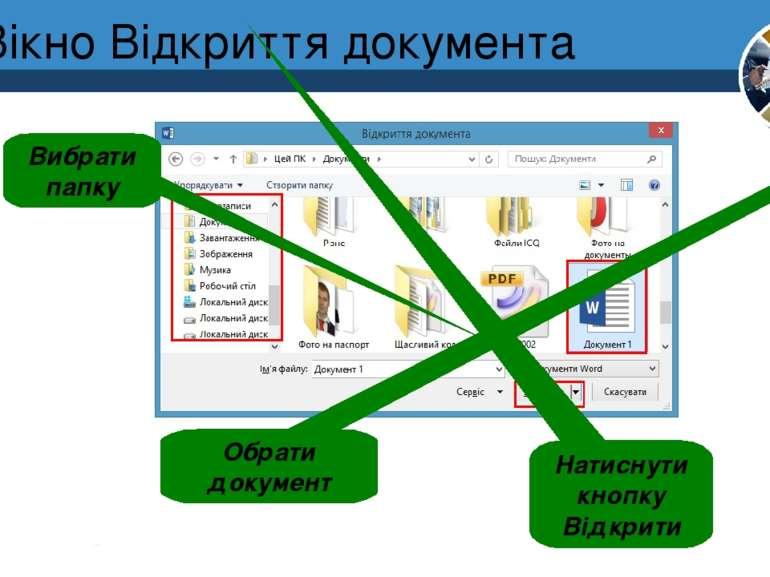 Вікно Відкриття документа Вибрати папку Обрати документ Натиснути кнопку Відк...