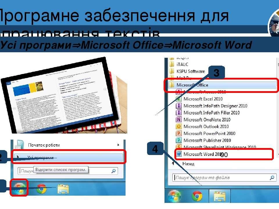Програмне забезпечення для опрацювання текстів Пуск Усі програми Microsoft Of...