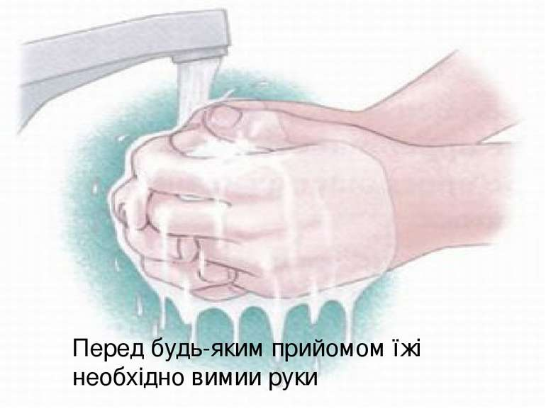 Перед будь-яким прийомом їжі необхідно вимии руки