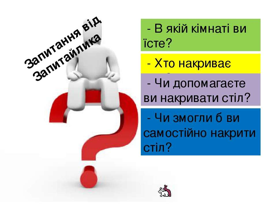 Запитання від Запитайлика - В якій кімнаті ви їсте? - Хто накриває стіл? - Чи...