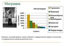 Миграции Причины: высокий уровень жизни в Европе; отрицательный прирост насел...