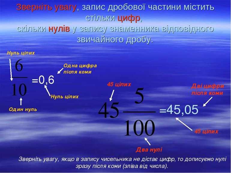 Зверніть увагу, запис дробової частини містить стільки цифр, скільки нулів у ...