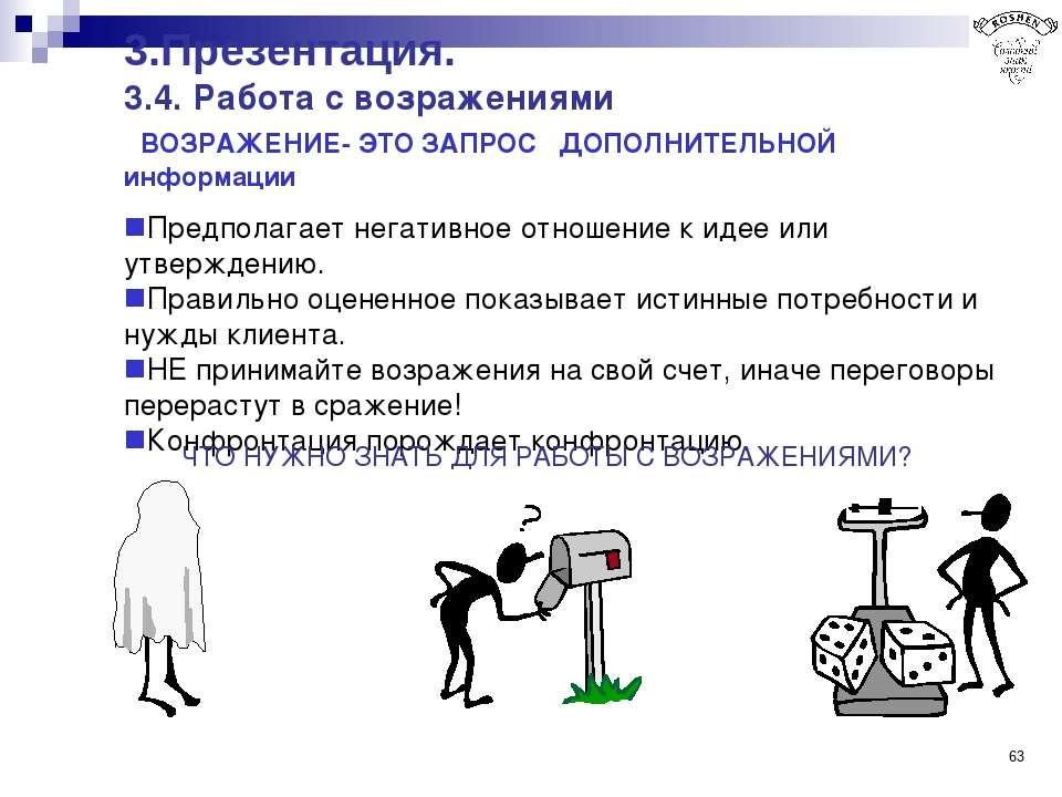 * 3.Презентация. 3.4. Работа с возражениями ВОЗРАЖЕНИЕ- ЭТО ЗАПРОС ДОПОЛНИТЕЛ...