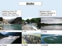Найбільші річки: Об, Єнісей, Лена, Амур, Янцзи, Ганг, Тигр та ін. Дефіцит вод...