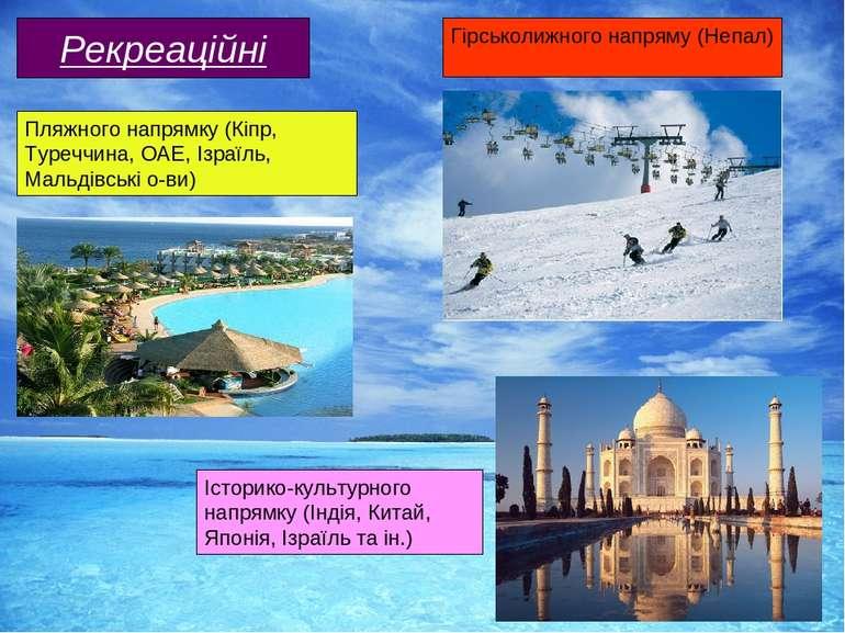 Рекреаційні Пляжного напрямку (Кіпр, Туреччина, ОАЕ, Ізраїль, Мальдівські о-в...