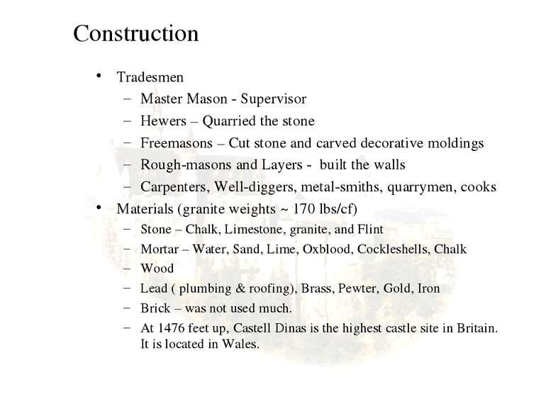 Construction Tradesmen Master Mason - Supervisor Hewers – Quarried the stone ...