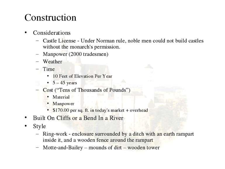 Construction Considerations Castle License - Under Norman rule, noble men cou...