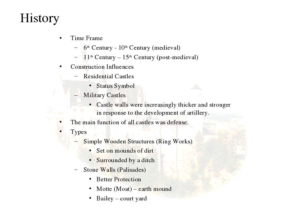 History Time Frame 6th Century - 10th Century (medieval) 11th Century – 15th ...