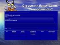 """Створення банку даних """"Обдарованість"""" Предмет _______________________________..."""