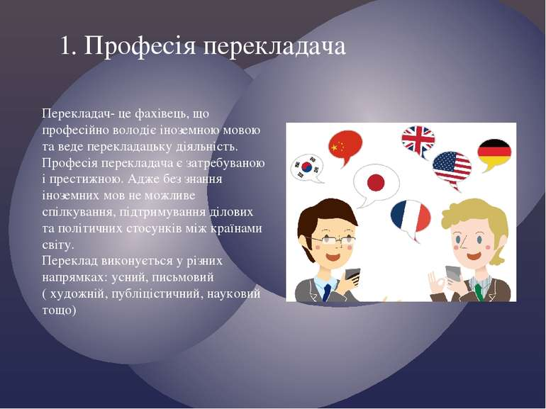 1. Професія перекладача Перекладач- це фахівець, що професійно володіє інозем...