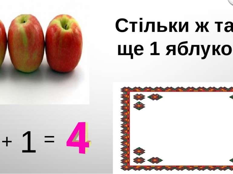 Стільки ж та ще 1 яблуко 3 + 1 =