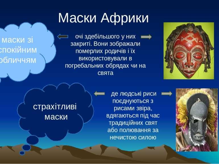 Маски Африки маски зі спокійним обличчям страхітливі маски очі здебільшого у ...