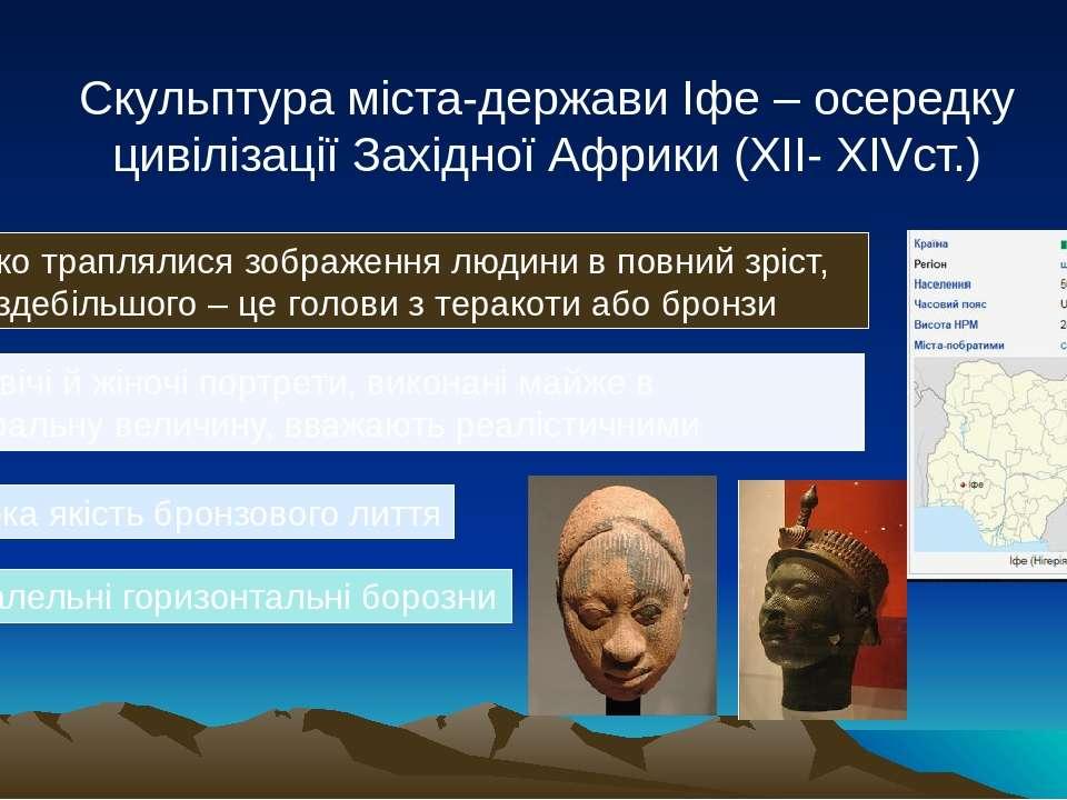 Скульптура міста-держави Іфе – осередку цивілізації Західної Африки (XII- XIV...