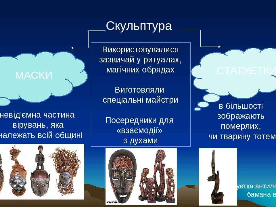 Скульптура МАСКИ СТАТУЕТКИ Використовувалися зазвичай у ритуалах, магічних об...