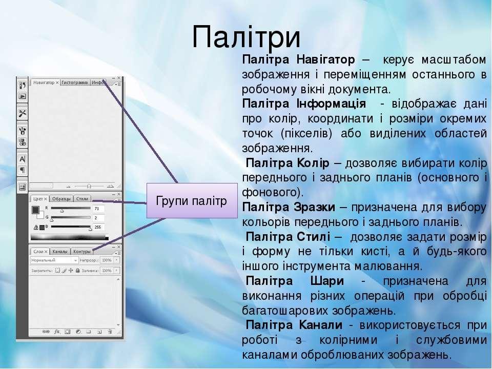 Палітри Палітра Навігатор – керує масштабом зображення і переміщенням останнь...