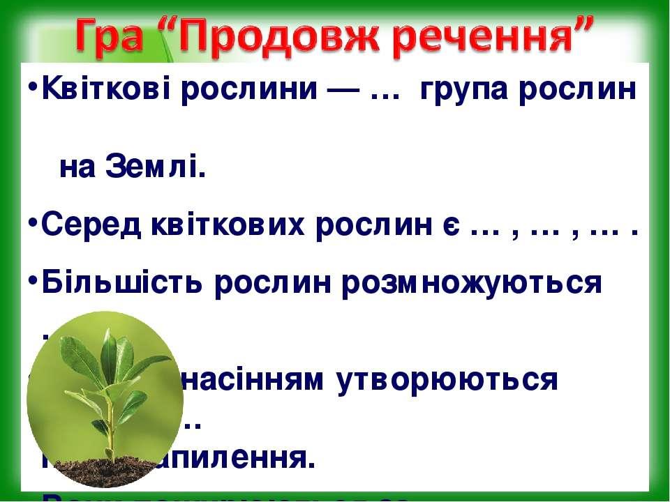 Квіткові рослини — … група рослин на Землі. Серед квіткових рослин є … , … , ...