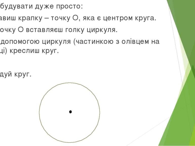 Круг будувати дуже просто: Ставиш крапку – точку О, яка є центром круга. В то...