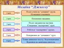 """Мозаїка """"Джигсоу"""" 1 крок Поділ учнів на """"домашні"""" групи. Нумерація учасників...."""