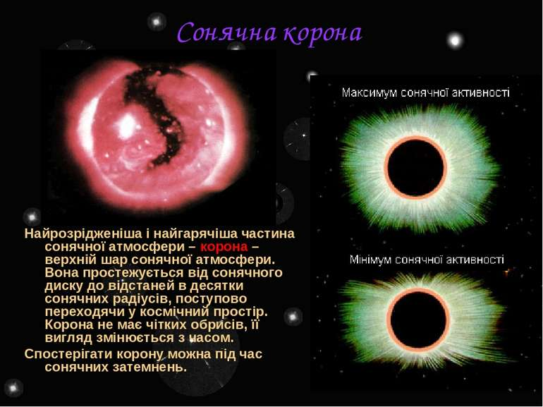 Сонячна корона Найрозрідженіша і найгарячіша частина сонячної атмосфери – кор...