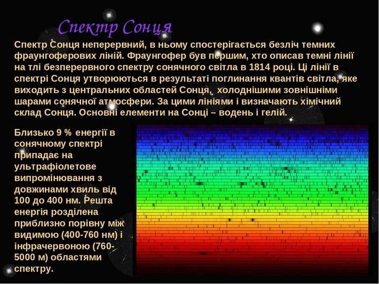 Спектр Сонця неперервний, в ньому спостерігається безліч темних фраунгоферови...