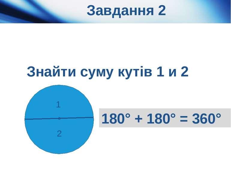 Завдання 2 1 2 ° 180° + 180° = 360° Знайти суму кутів 1 и 2 Актуалізація опор...