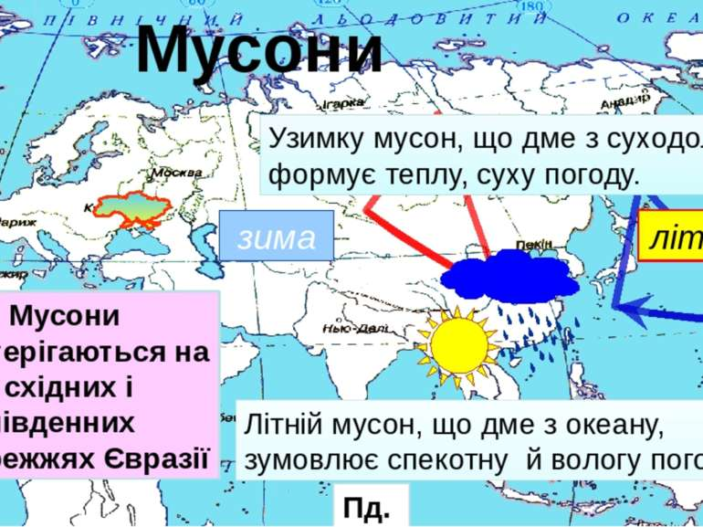 літо зима Узимку мусон, що дме з суходолу, формує теплу, суху погоду. Літній ...