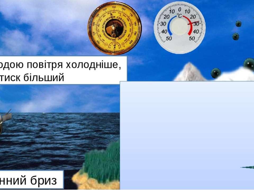 Вдень суходіл нагрівається швидше від води Повітря над ним легше, отже, і тис...