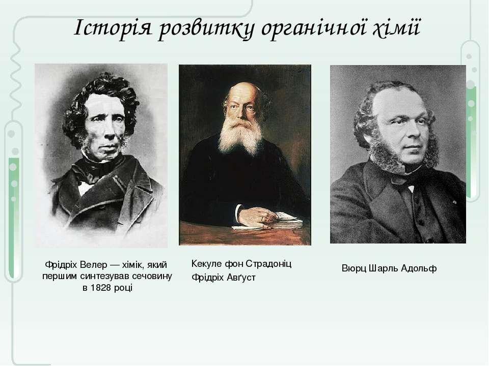Історія розвитку органічної хімії Фрідріх Велер — хімік, який першим синтезу...