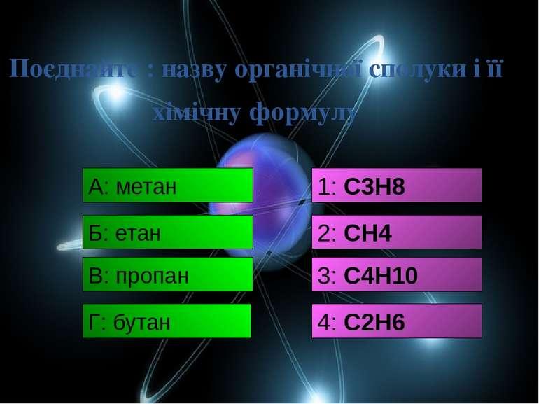Поєднайте : назву органічної сполуки і її хімічну формулу А: метан 1: С3Н8 Б:...