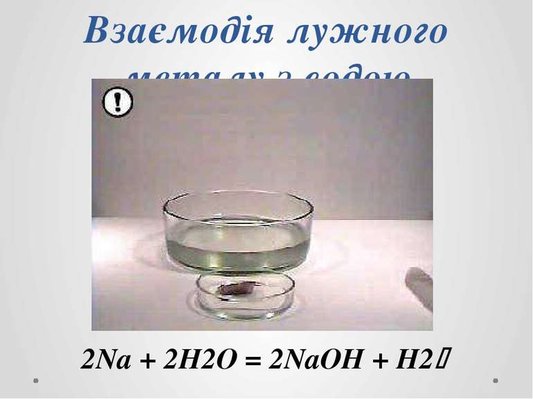 Взаємодія лужного металу з водою 2Na + 2H2O = 2NaOH + H2