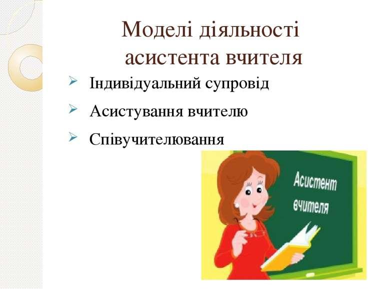 Моделі діяльності асистента вчителя Індивідуальний супровід Асистування вчите...
