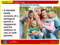 Slide * of 23 A blended family consists of a biological parent, a stepparent,...