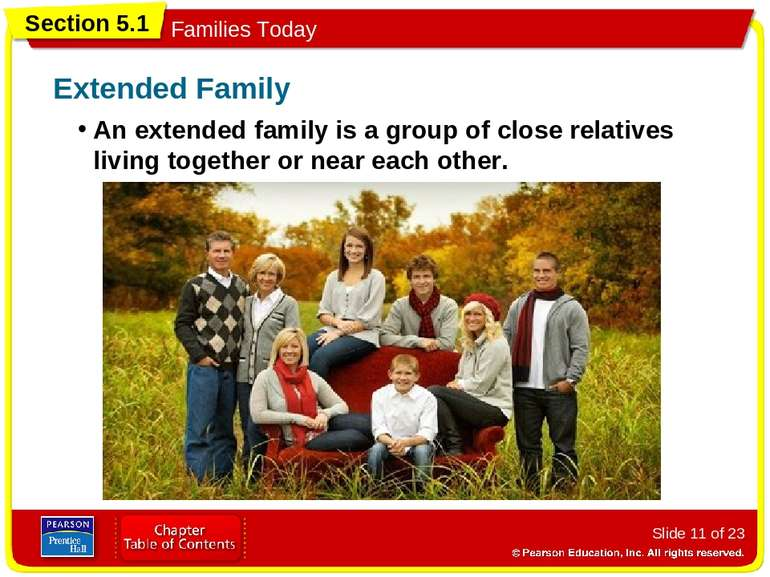 Slide * of 23 An extended family is a group of close relatives living togethe...