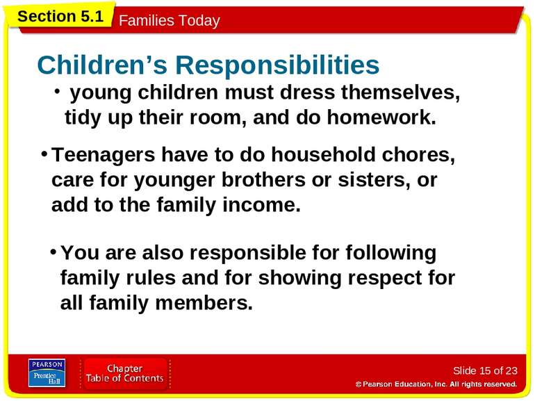 Slide * of 23 young children must dress themselves, tidy up their room, and d...