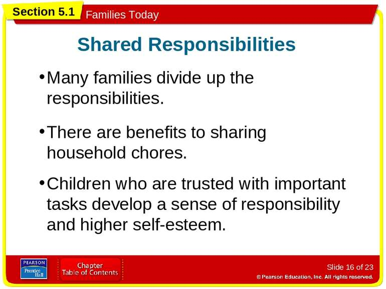 Slide * of 23 Many families divide up the responsibilities. Shared Responsibi...
