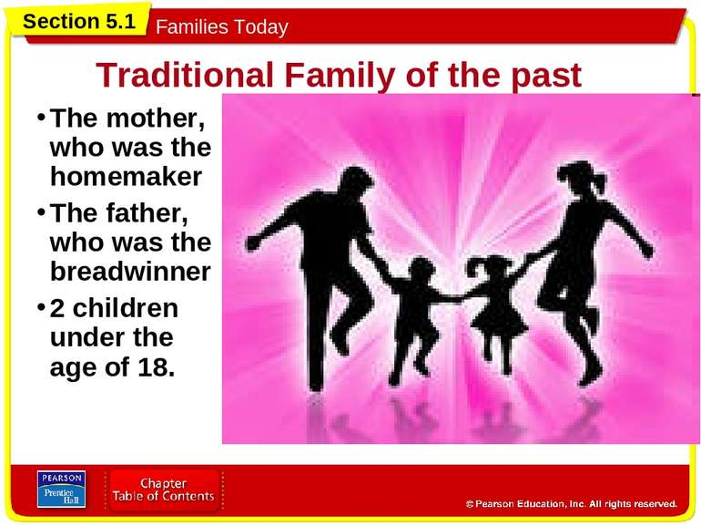 Traditional Family of the past The mother, who was the homemaker The father, ...