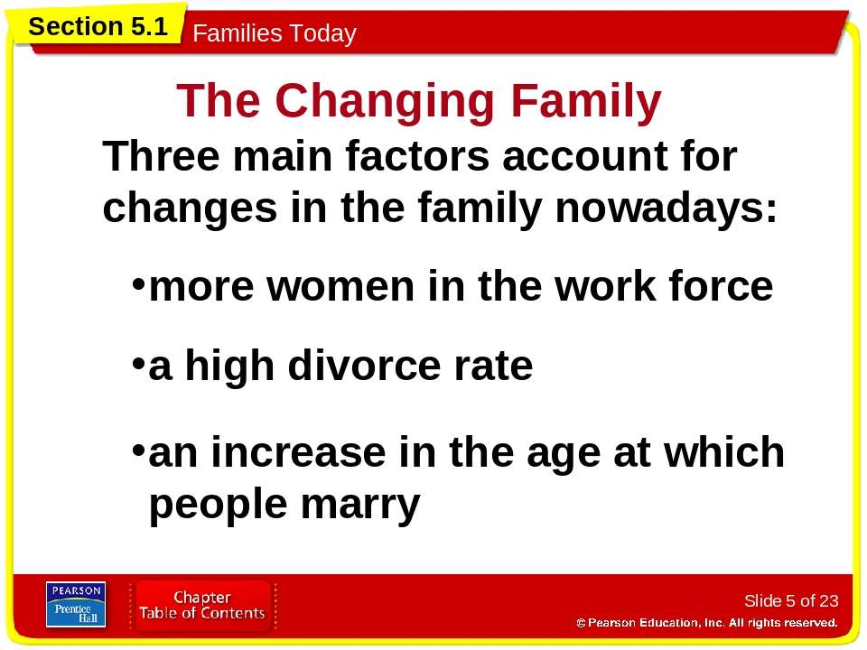 Slide * of 23 Three main factors account for changes in the family nowadays: ...