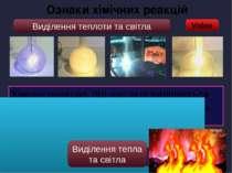 Video Ознаки хімічних реакцій Виділення теплоти та світла Хімічну реакцію, пі...