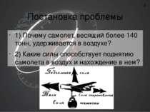 Постановка проблемы 1) Почему самолет, весящий более 140 тонн, удерживается в...
