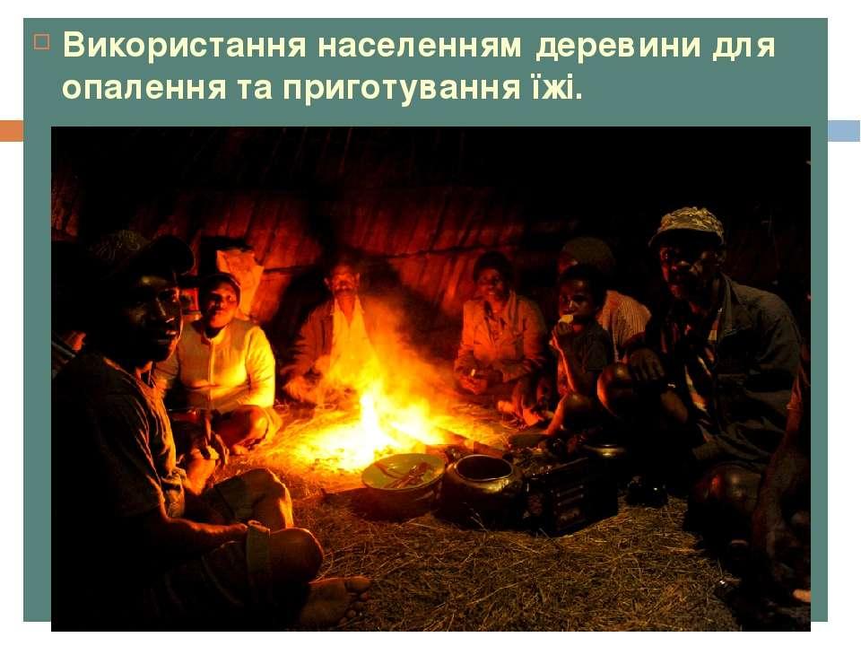 Використання населенням деревини для опалення та приготування їжі.