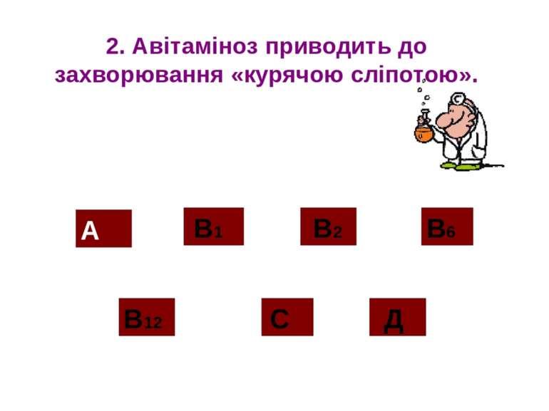2. Авітаміноз приводить до захворювання «курячою сліпотою». А В12 В2 С Д В1 В6