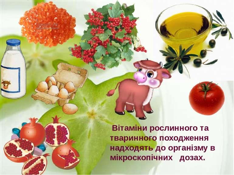 Вітаміни рослинного та тваринного походження надходять до організму в мікроск...